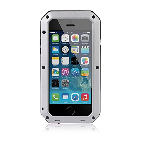 Waterproof Shockproof Aluminum Gorilla Glass Metal Cover Full-body Military Armor Protective Snowproof Dustproof Front and Back Case Cover For Apple iPhone 5 5S - Black by ISOUL Silber / Grau