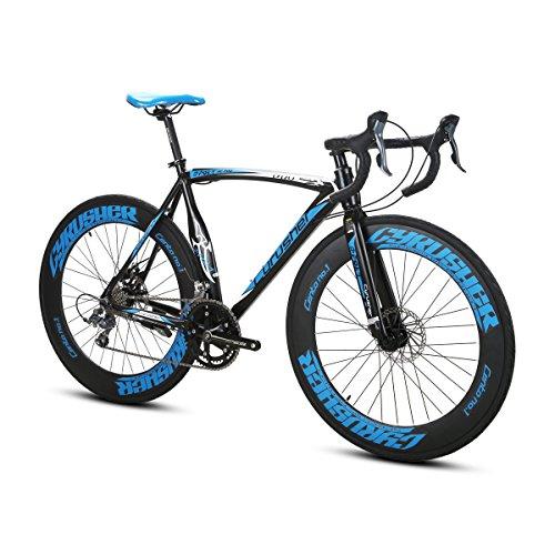 Extrbici Bicicletas de carretera - Ciclismo Ruta - Speed Race XC700 Ciudad/carretera de bicicletas 700C x 70 mm con 16 velocidades de aluminio de marco de frenos mecánicos -SHIMANO Derailleur