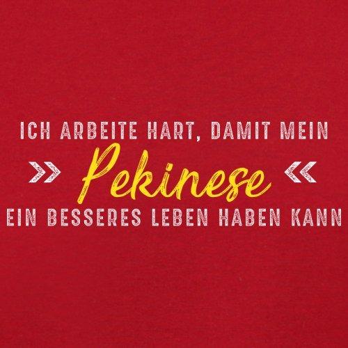 Ich arbeite hart, damit mein Pekinese ein besseres Leben haben kann - Herren T-Shirt - 12 Farben Rot