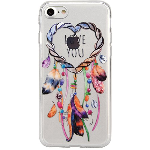"VemMore Coque pour iPhone 7 4.7"" Transparente avec Motif Ultra Fine Slim Silicone Gel Bumper TPU Souple Etui Housse Case Cover pour iPhone 7 - Attrape Reve Attrape Reve"
