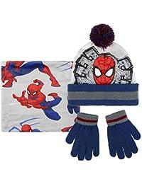 Cerdá Conjunto 3 Piezas Spiderman, Set de Bufanda, Gorro y Guantes para Niños, (Gris 001), One Size (Tamaño del Fabricante:única)