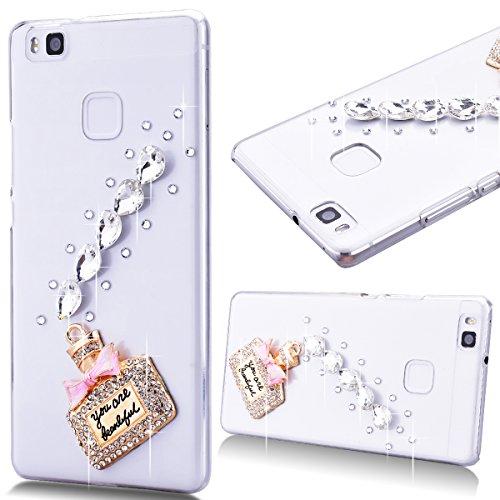 Rigida Trasparente Cover per Huawei P9 Lite, GrandEver Diamante Glitter
