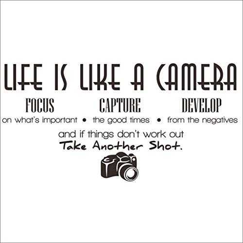Hi-Shop Das Leben ist Wie Eine Kamera Zitat Decors Wand Spruch Aufkleber Zitat für Home Wand Aufkleber Kinderzimmer Decor 4 - Kamera Das Ist Eine Leben Wie