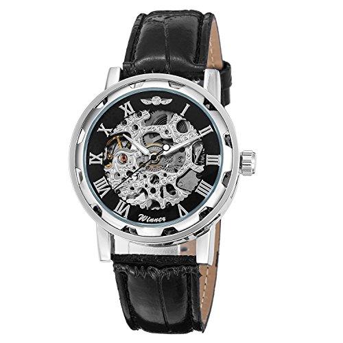 Gute Classic Steampunk mechanische Armbanduhr Schwarz Skelett Automatische schwarz silber Armbanduhr Fall