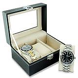 VENKON - Uhrenbox mit Schaufenster aus Glas für 3 Armbanduhren Aufbewahrung & Präsentation - Kunstleder Schwarz - 16 x 12 x 8 cm