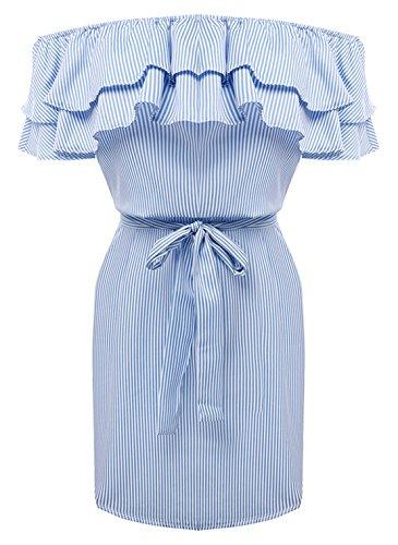 Weiblich Mode Reizvolle Lotus Blatt Ein Wort Schulter Selbstkultivierung Hüfte Packen Streifen Kleid Kurzer Rock Blau