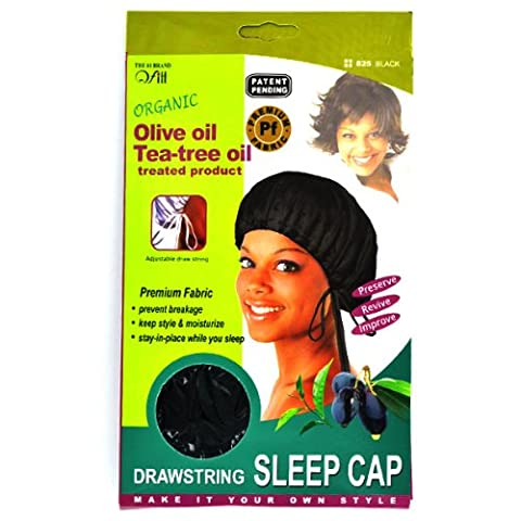 QFitt Organic Shea Butter & Olive Oil Treated Large Drawstring Satin Sleep Cap. 1pc .