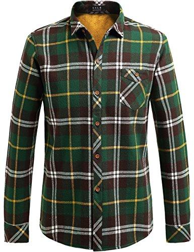 SSLR Herren Kariertes Hemd Gefüttert Flanell Trachtenhemd Holzfällerhemd Langarm Baumwolle Winter Freizeithemd (Large, Grün) -