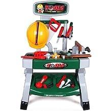 deAO Taller Mecánico con Set de Herramientas De Juguete - Mesa de Trabajo Incluye Accesorios