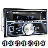 XOMAX XM-2CDB622 Autoradio mit CD-Player, Bluetooth Freisprecheinrichtung, RDS Radio Tuner, 7 Farben einstellbar (Rot, Blau, Grün, Gelb, Lila, Weiß, Türkis) USB und Micro SD für MP3 WMA, AUX-IN, Anschluss für 2x Subwoofer, 2DIN