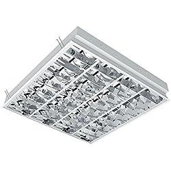 Grille pour 4x Lampe LED Lampe de tubes, tablettes, Plafonnier avec double parabole (BAP), pour quatre tubes LED (60cm, G13, pas inclus dans le prix))...