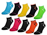 6 oder 12 Paar NEON Sport Sneaker Socken Damensocken mit verstärkter Frotteesohle - 36850 (Neon/Schwarz   39-42, 6 Paar)