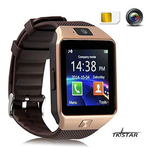 TKSTAR Sport Smartwatch Bluetooth Smart Uhr Watch Fitnessarmband mit 1.54 Zoll Display/SIM Kartenslot/Schrittzähler/Schlafanalyse/SMS Facebook Vibration für Android Smartphone DZ09 Gold