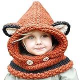 Enfants Chapeau Hiver Bonnet Écharpe Automne Tricot Chapeau Chaud bébé Garçons Filles (Orange)