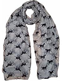 luxury large maxi Viscose scarf small Horse print Cream
