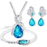 Stockton Fashion Halskette Ohrringe Armband Tränen der Engel Diamond Crystal Elegante Frauen Schmuck Set Kristall Anhänger Ha