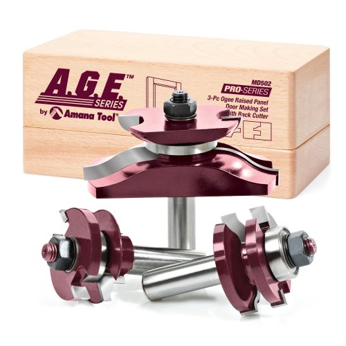 A.G.E. Series by Amana Tool MD502 Raised Panel Door Making Carbide Tipped Router Bit Set with Back Cutter with 1/2-Inch Shank, 3-Piece by A.G.E. Series by Amana Tool -