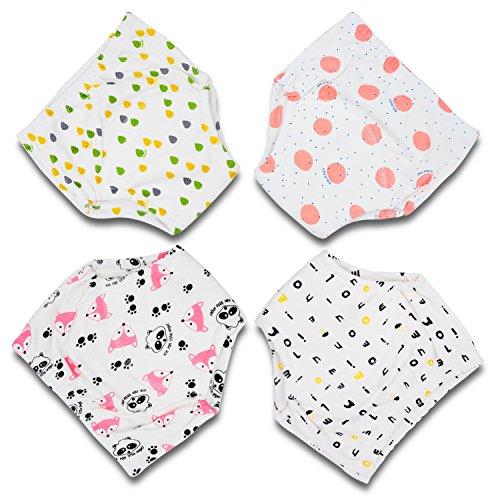 Flyish Baby Trainingshose Kinder Windelhose Kleinkind Training Unterwäsche Baumwolle wiederverwendbar und waschbar bequem 4er Pack Größe 12M - 3 Jahr