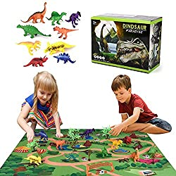 gaeruite Dinosaur Toy Figure with Activity Play Mat & Trees, Kids Dinosaur Toys Set Set di Giochi educativi realistici per Dinosauri Giocattoli educativi per Ragazzi