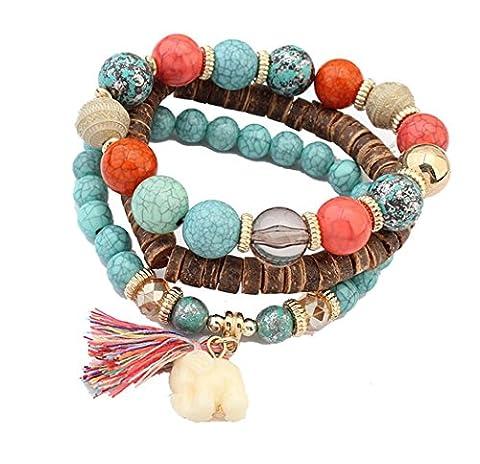 Manufacturer2 Women Multilayer Beads Bangle Tassels Bracelets Turquoise Buddha Mala