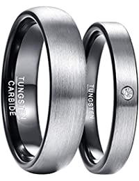 e3c30674c5e6 NUNCAD 4mm 6mm Tungsten Carbide Wedding Rings Engagement Band for Couple CZ  Inlay Brushed Finish Black