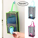 Orpio (Lable) Mesh Recycle Breathable Mesh Hanging Garbage Storage Bag Holder (Blue)