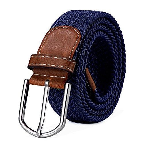 Stoffgürtel Stretchgürtel geflochten und elastisch Gürtel für Damen und Herren Länge 100 cm bis 130 cm dunkelblau