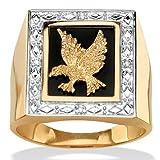 Anillo para hombre - Oro amarillo 18k sobre plata de ley - Ónice - Detalles de diamantes - Motivo águila - 27 (21,33 mm)