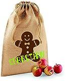 Nikolaus-säckchen mit Namen | Jute-Beutel personalisiert & Bedruckt | Motiv Lebkuchen | Weihnachten Kinder Geschenk | Verschiedene Größen zum befüllen | groß und klein schöne Motive (XS 14 x 20 cm)