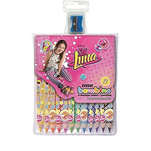 Soy Luna 12 crayons de couleur en bois compris 1 crayon couleyr d'or, avec l'argile kaolinite fourniture scolaire et activité artistique