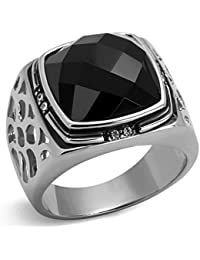 YourJewelleryBox K3059 stainless steel black ring no stone comfort swirl flat contemporary womens