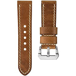 Kaizen R-17 Genuine USA Oiled Leather Watch Strap, Ivory Stitch & Pre-V Buckle, Tan Brown, 22mm