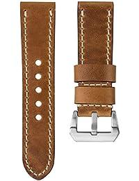 Kaizen R-17 Correa del reloj Geckota® cuero genuino Diseño vintage Marrón claro 22mm