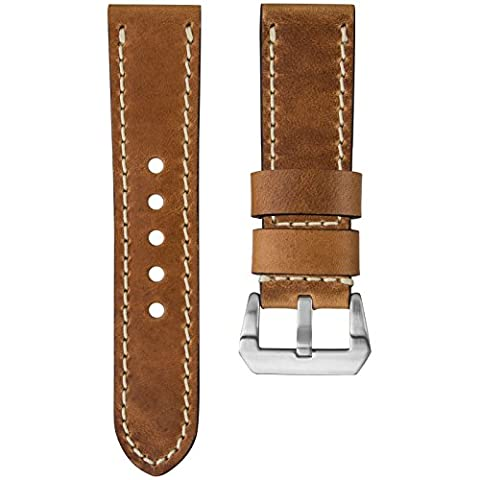 Kaizen R-17 Genuine USA Oiled Leather Watch Strap, Ivory Stitch & Pre-V Buckle, Tan Brown, 24mm