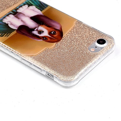 per iPhone 7 4.7 Custodia case,Herzzer Mode Crystal per iPhone 7 4.7 Creativo Elegante lusso di Glitter Bling Carina animali Grigio kitty gatto Quadro Dipinto Design shell cover,Unico Molto sottile  cane
