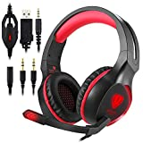 ohCome Gaming Headset avec Mic pour PS4, Nouveau Xbox One, Nintendo Switch, PC - Professional 3.5MM LED Light Over-ear Headband Réduction de bruit Casque stéréo surround avec Splitter (Noir-rouge)