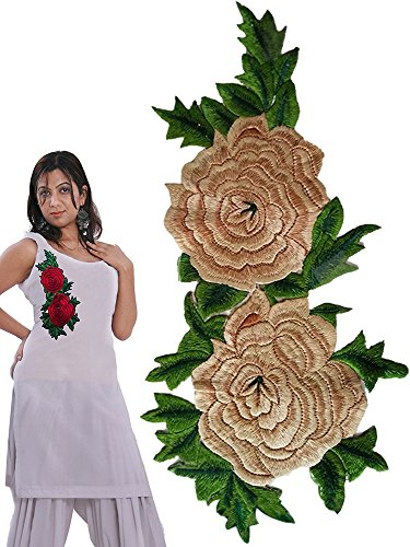 rose embroidered patch for suits and kurtis (Beige(Golden))