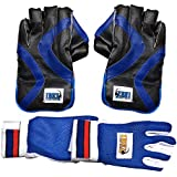 JetFire Ibex College Men's Wicket Keeping Gloves and Inner Gloves Combo (Blue)