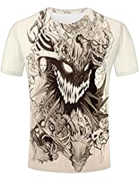 LizzieYun Unisex 3D Graphic T-Shirt Printed Ghost Skull Horror Graphic Fashion Couple Tees