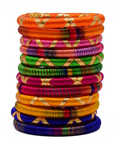 NAKSH Stylish & Elegant Multi-Color Silk Thread Bangle Set with Zari & Gota Work For Girls & Women