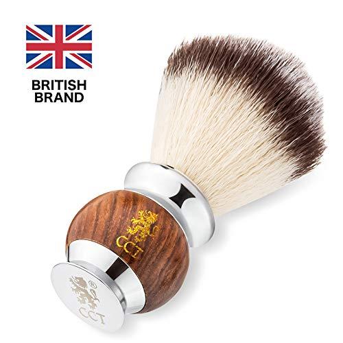 Der Cambridge Cut Throat Premium Herren Rasierpinsel aus Holz und Edelstahl Pflegegeschenk für Männer Beauty Set