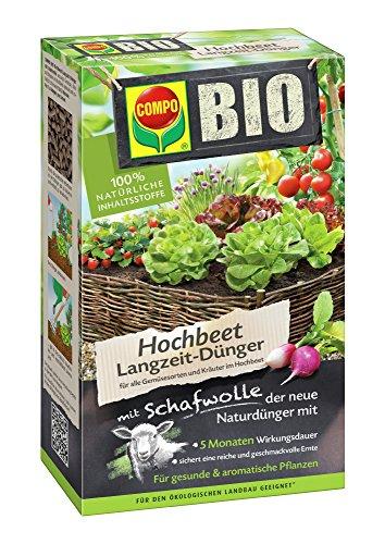 Erde Kräuter (COMPO BIO Hochbeet Langzeit-Dünger für Gemüse, Obst, Kräuter und andere Hochbeet-Pflanzen, 5 Monate Langzeitwirkung, 750 g)