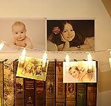 Foto Clips, Bukm, LED-Foto Clips Lichterketten, 20 Clips, 2.2 Meter Warm White Dauerlicht für Bilder Fotos Karten Hängen, Batterien angetrieben zum Valentinstag, Weihnachten, Geburtstag, Party