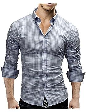 Merish Camicia Uomo, a scacchi, Slim Fit, Camicia classiche, 4 Colori Taglia S - XXL Modell 48
