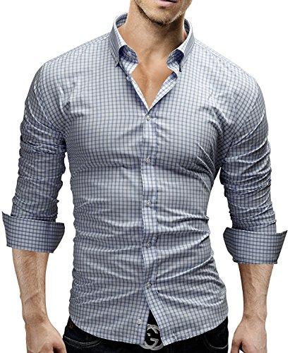 Merish camicia uomo, a scacchi, slim fit, camicia classiche, 4 colori taglia s - xxl modell 48 blu chiaro xl