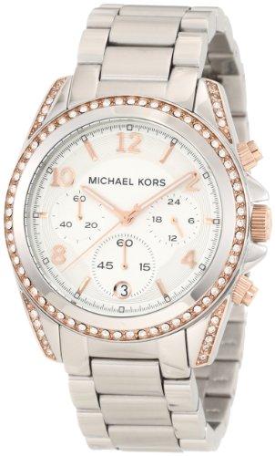 Michael-Kors-MK5459-Reloj-con-correa-de-acero-y-caucho-para-mujer-color-blanco-gris