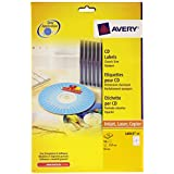 Avery 50 Etiquettes Autocollantes pour CD - Ø117mm- Impression Laser, Jet d'Encre - Blanc(L6043)