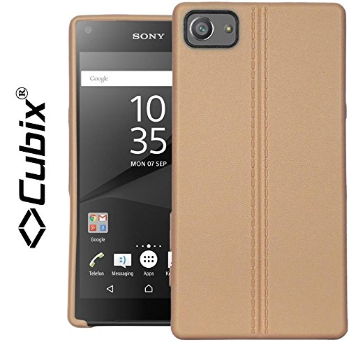 Xperia Z5 Compact Case, CUBIX Stiched Line Design Armor Flip TPU Back Case Cover For Sony Xperia Z5 Compact (Gold)  available at amazon for Rs.349