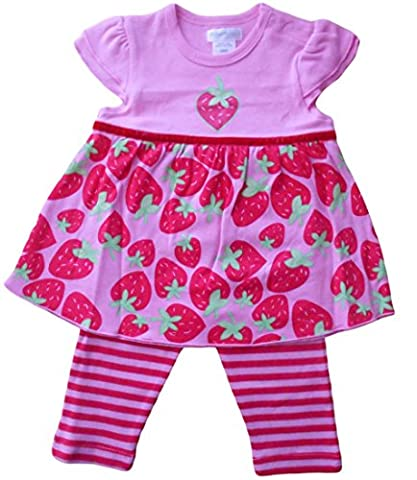 6–12mois–Bébé Fille Costume–Rouge et Rose Mignon fraise avec robe à manches courtes à rayures pour femme