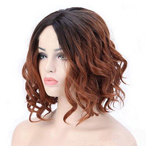 Frau Perücken Sexy Fashion Wavy Synthetische Mittelteil Kurze lockigs Haar, light brown (Box Netzwerke Brown)